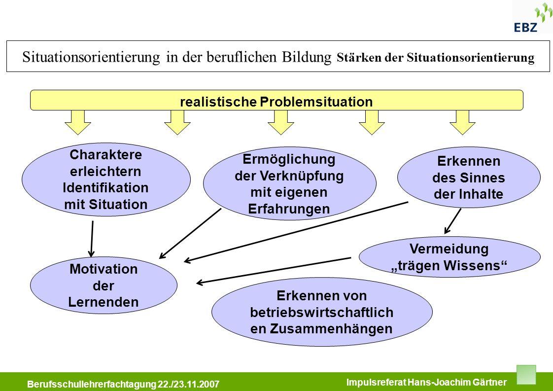 Situationsorientierung in der beruflichen Bildung Stärken der Situationsorientierung