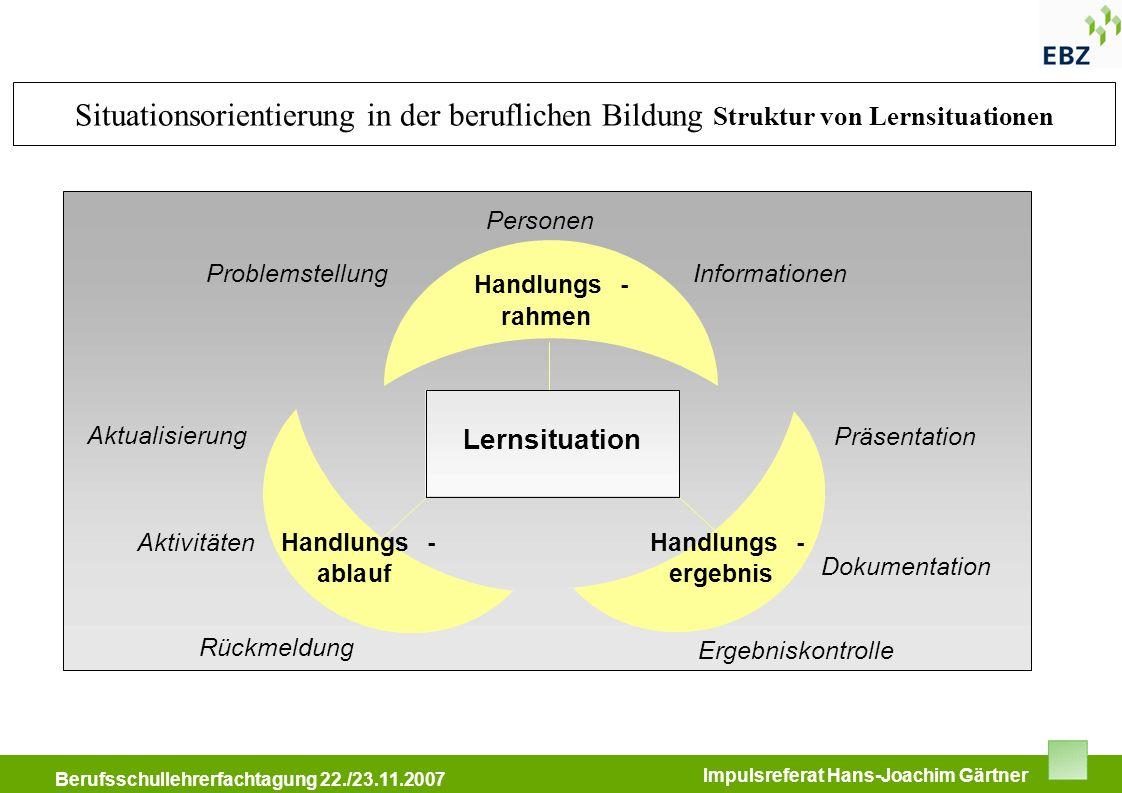 Situationsorientierung in der beruflichen Bildung Struktur von Lernsituationen