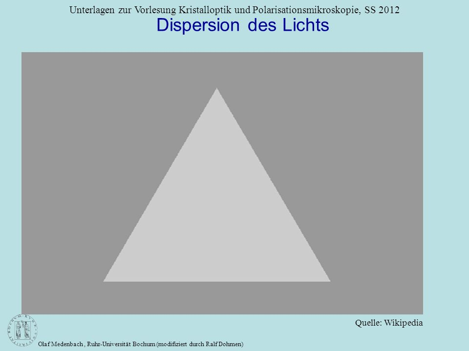 Dispersion des Lichts Quelle: Wikipedia