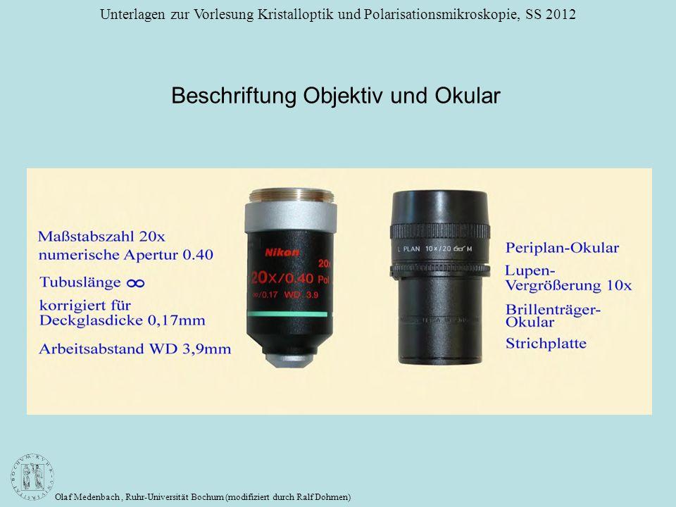 Beschriftung Objektiv und Okular