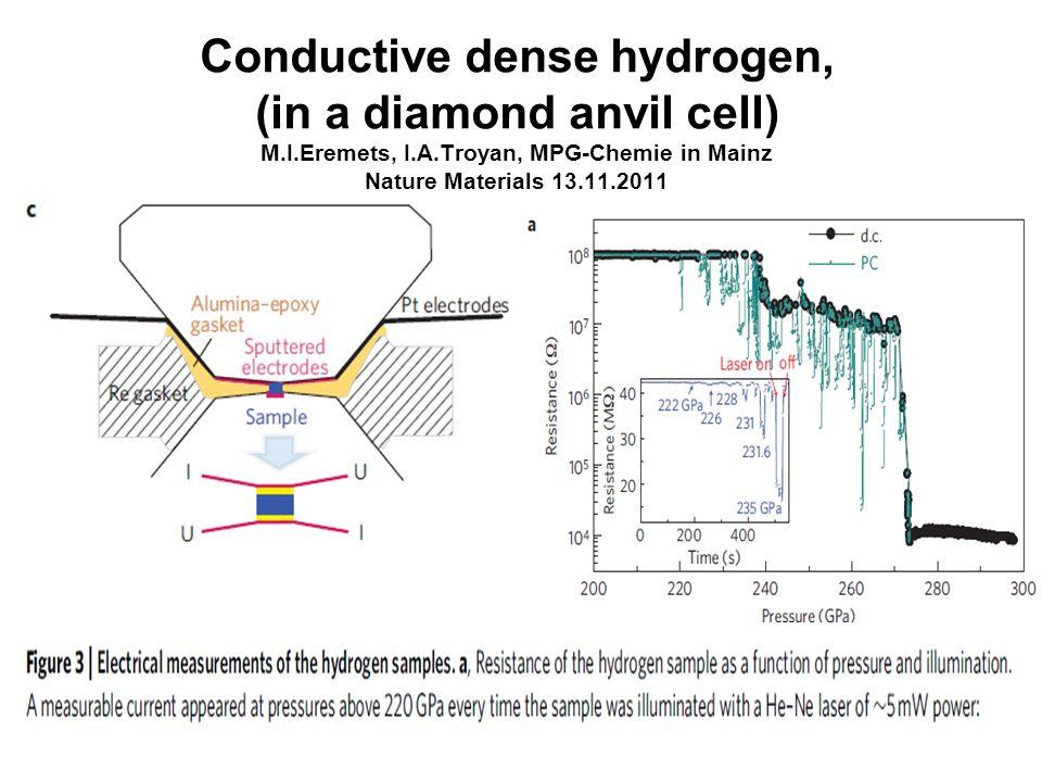 Conductive dense hydrogen, (in a diamond anvil cell) M. I. Eremets, I