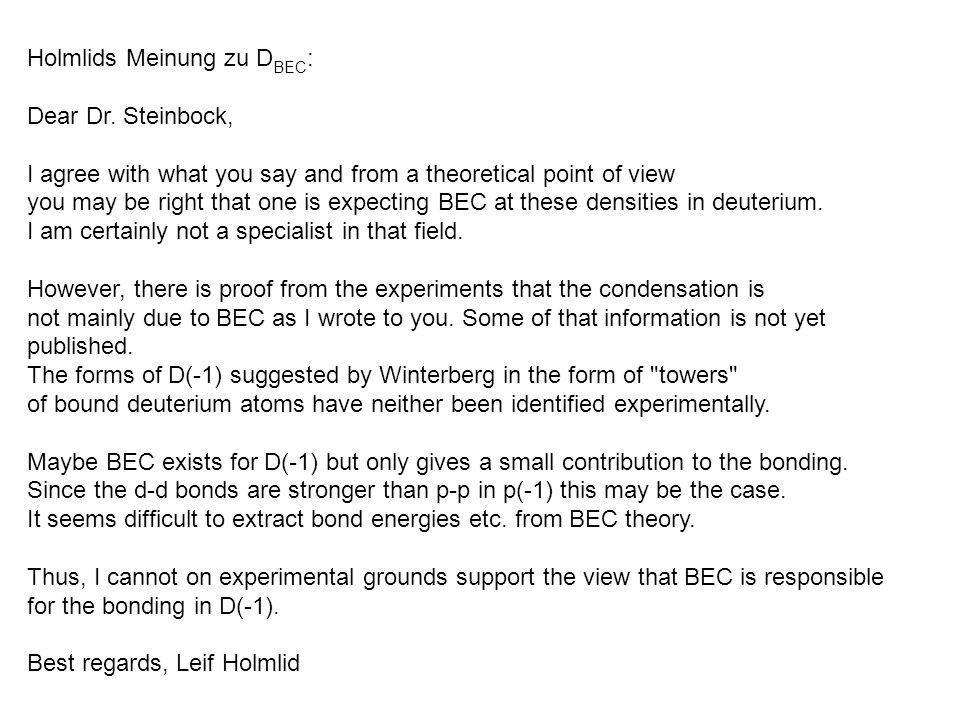 Holmlids Meinung zu DBEC: