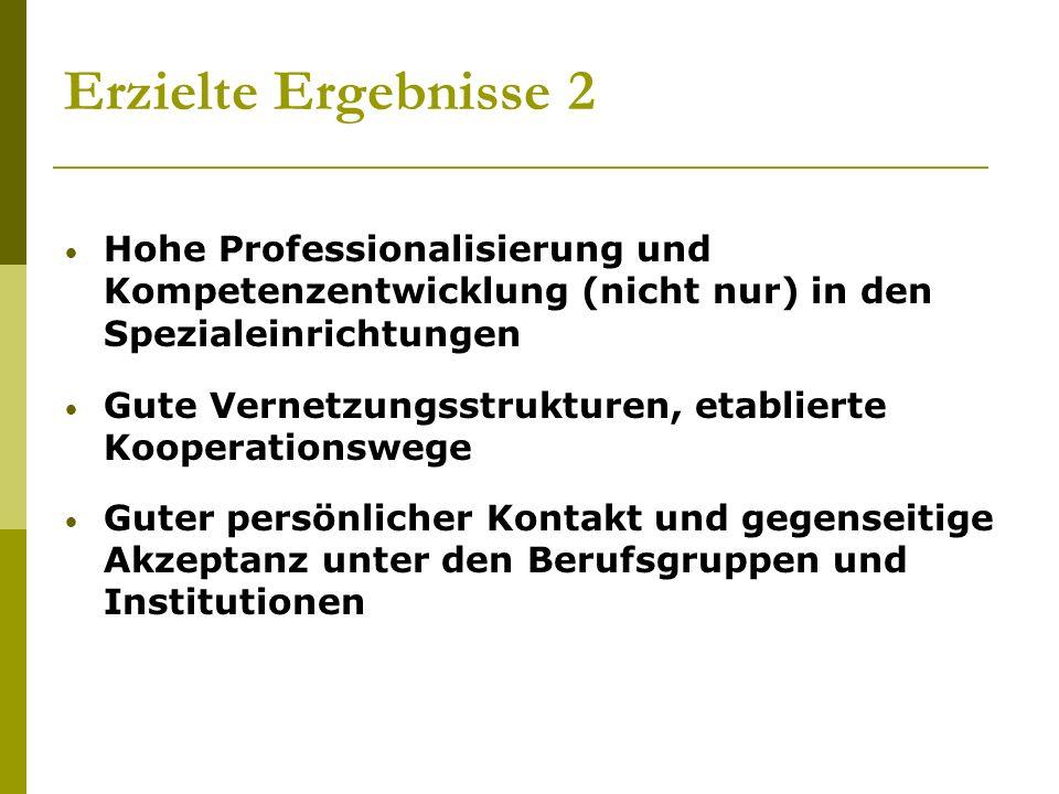 Erzielte Ergebnisse 2 Hohe Professionalisierung und Kompetenzentwicklung (nicht nur) in den Spezialeinrichtungen.
