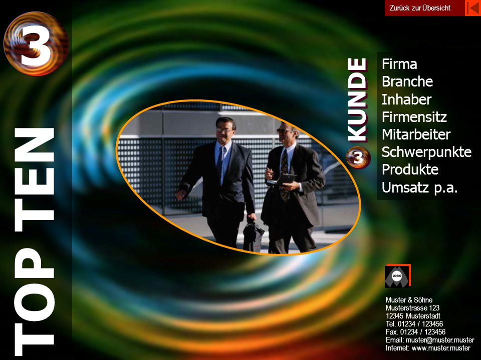 3 TOP TEN KUNDE 3 Firma Branche Inhaber Firmensitz Mitarbeiter