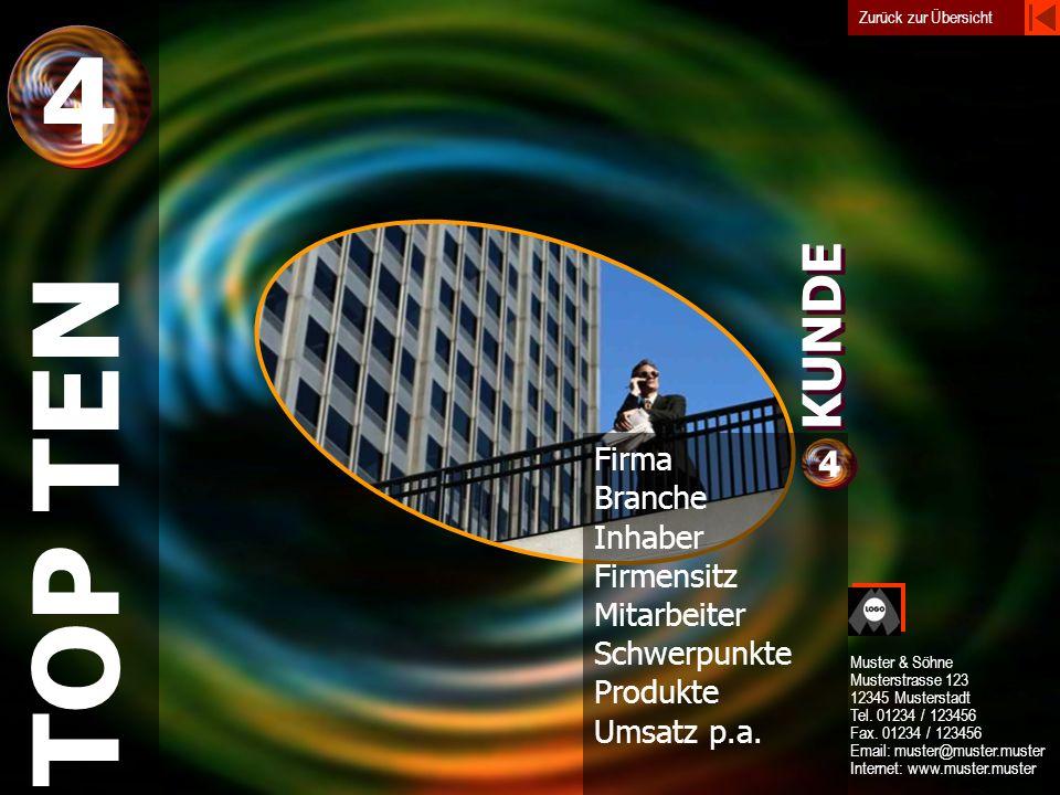 4 TOP TEN KUNDE 4 Firma Branche Inhaber Firmensitz Mitarbeiter