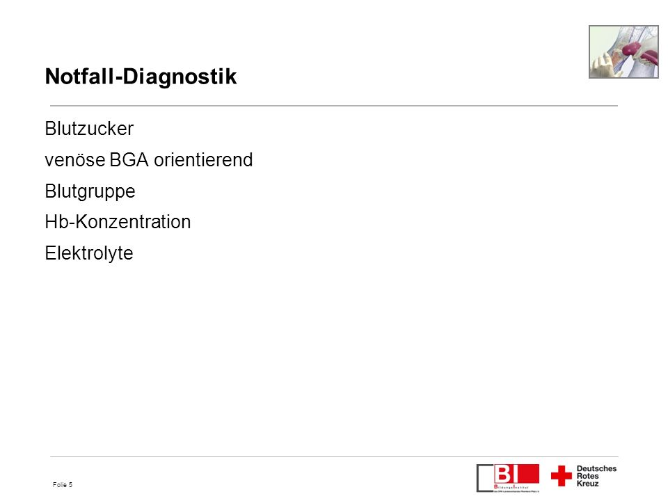 Notfall-Diagnostik Blutzucker venöse BGA orientierend Blutgruppe