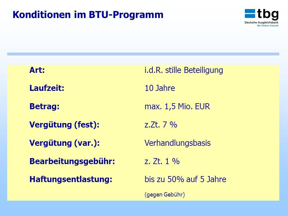 Konditionen im BTU-Programm