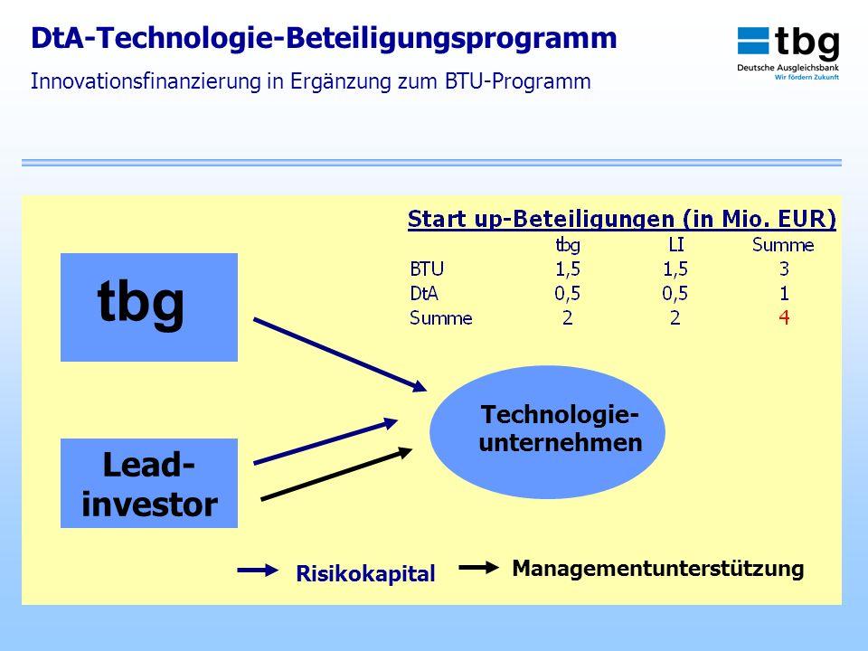 tbg Lead- investor DtA-Technologie-Beteiligungsprogramm Technologie-
