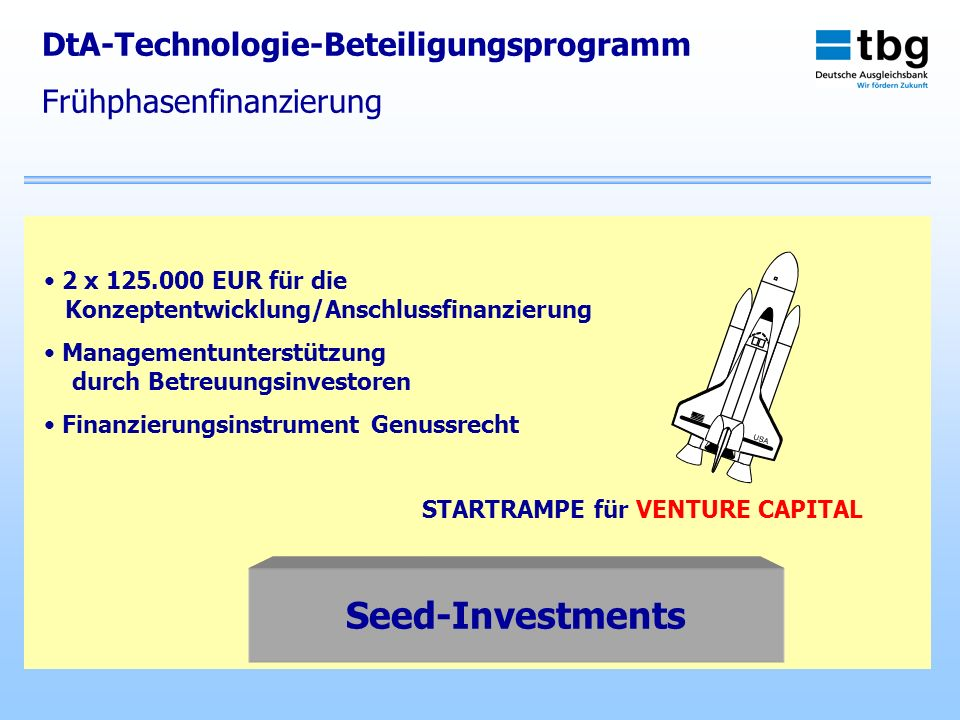 Seed-Investments DtA-Technologie-Beteiligungsprogramm