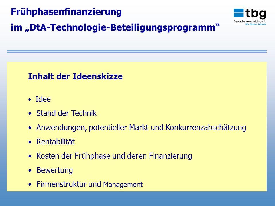 """Frühphasenfinanzierung im """"DtA-Technologie-Beteiligungsprogramm"""