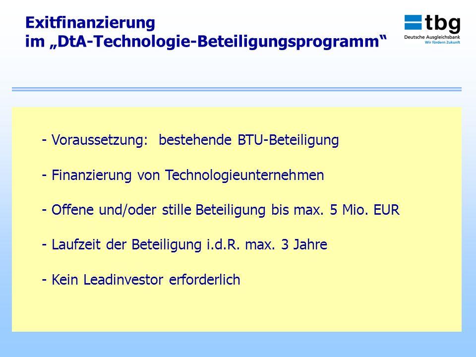"""im """"DtA-Technologie-Beteiligungsprogramm"""