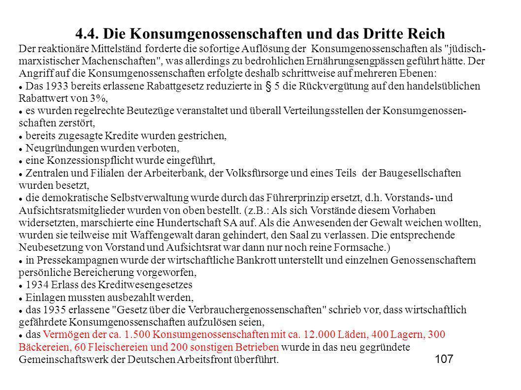 4.4. Die Konsumgenossenschaften und das Dritte Reich