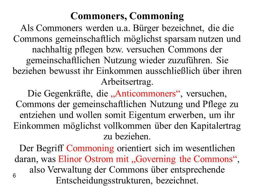 Commoners, Commoning