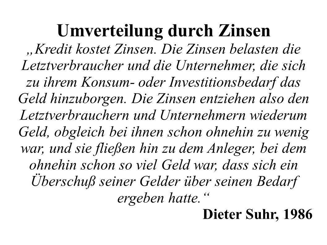 Umverteilung durch Zinsen