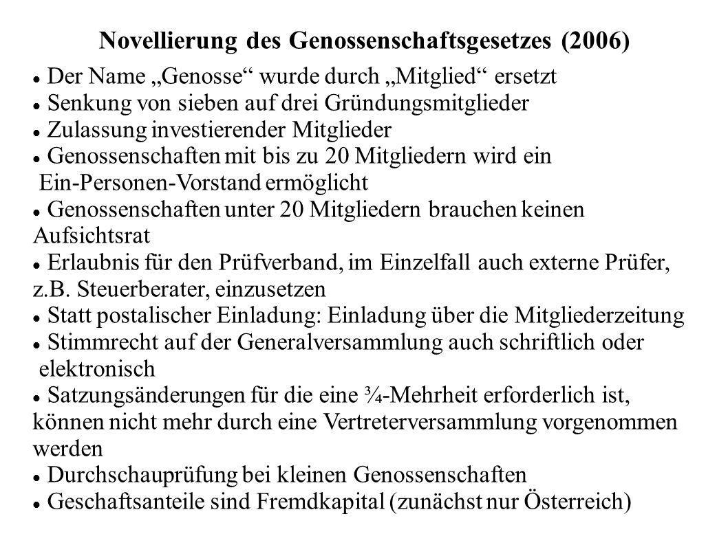 Novellierung des Genossenschaftsgesetzes (2006)