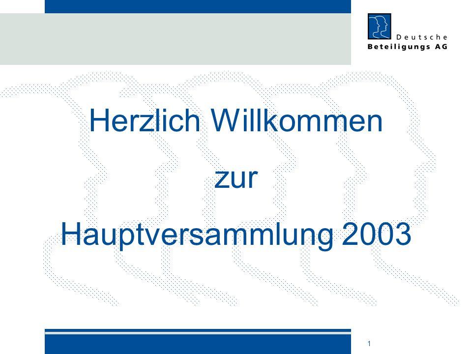 Herzlich Willkommen zur Hauptversammlung 2003