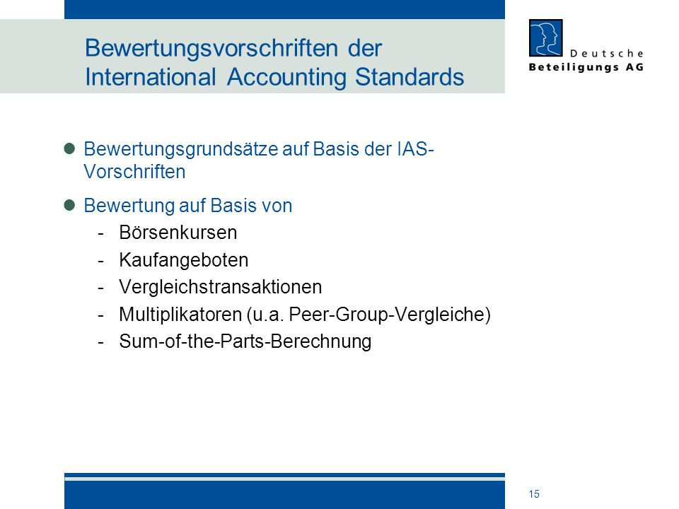 Bewertungsvorschriften der International Accounting Standards