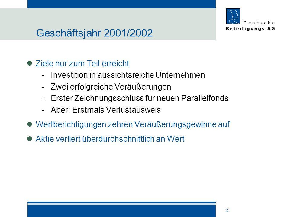 Geschäftsjahr 2001/2002 Ziele nur zum Teil erreicht
