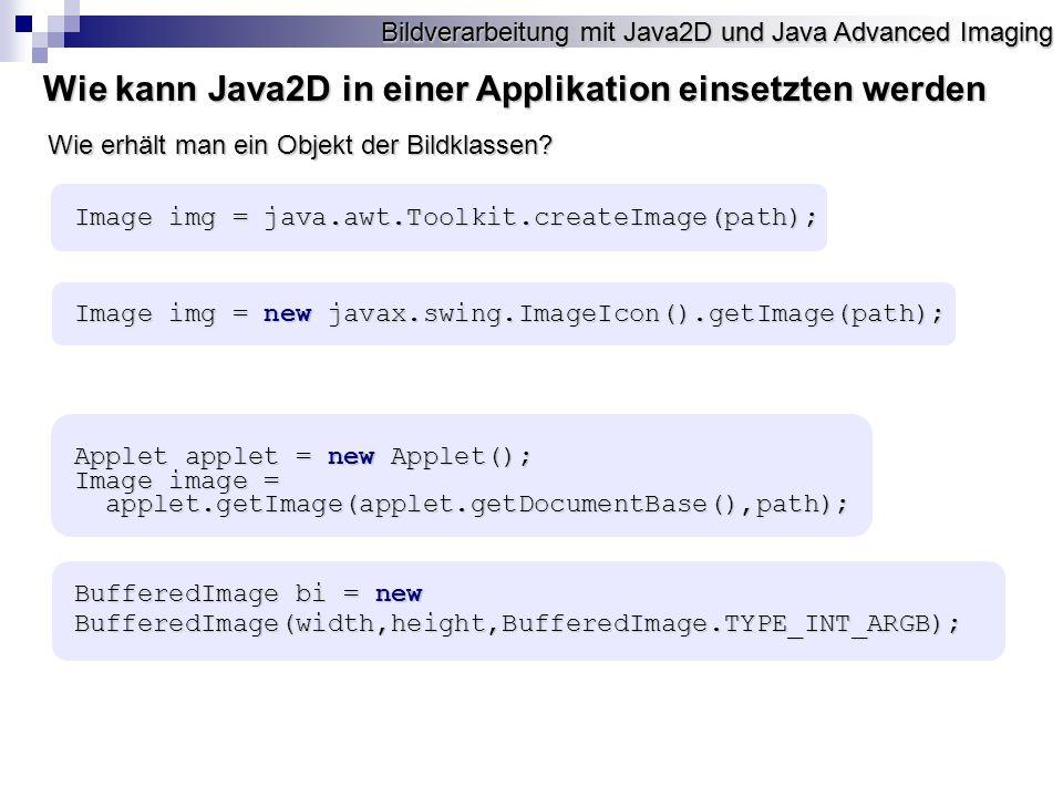 Wie kann Java2D in einer Applikation einsetzten werden