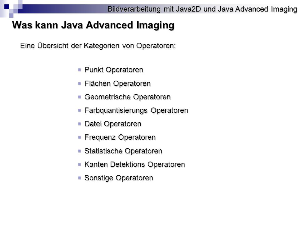 Was kann Java Advanced Imaging