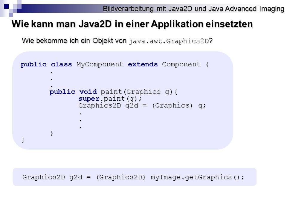 Wie kann man Java2D in einer Applikation einsetzten