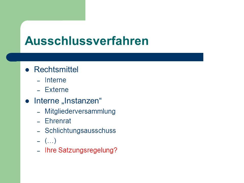"""Ausschlussverfahren Rechtsmittel Interne """"Instanzen Interne Externe"""