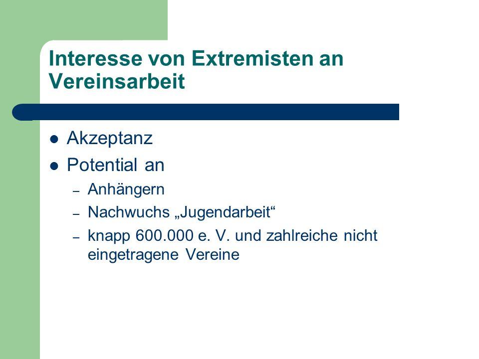 Interesse von Extremisten an Vereinsarbeit