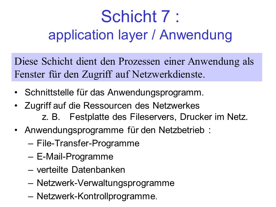 Schicht 7 : application layer / Anwendung