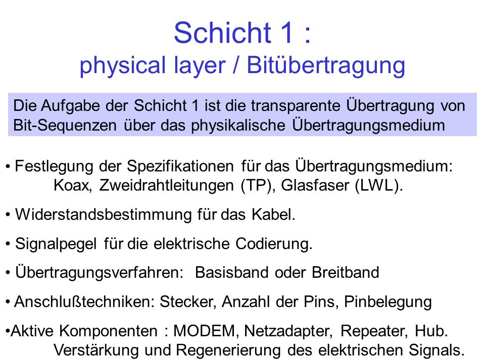 Schicht 1 : physical layer / Bitübertragung