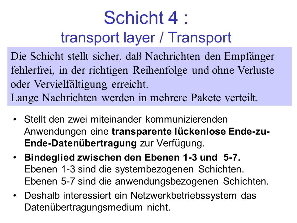 Schicht 4 : transport layer / Transport