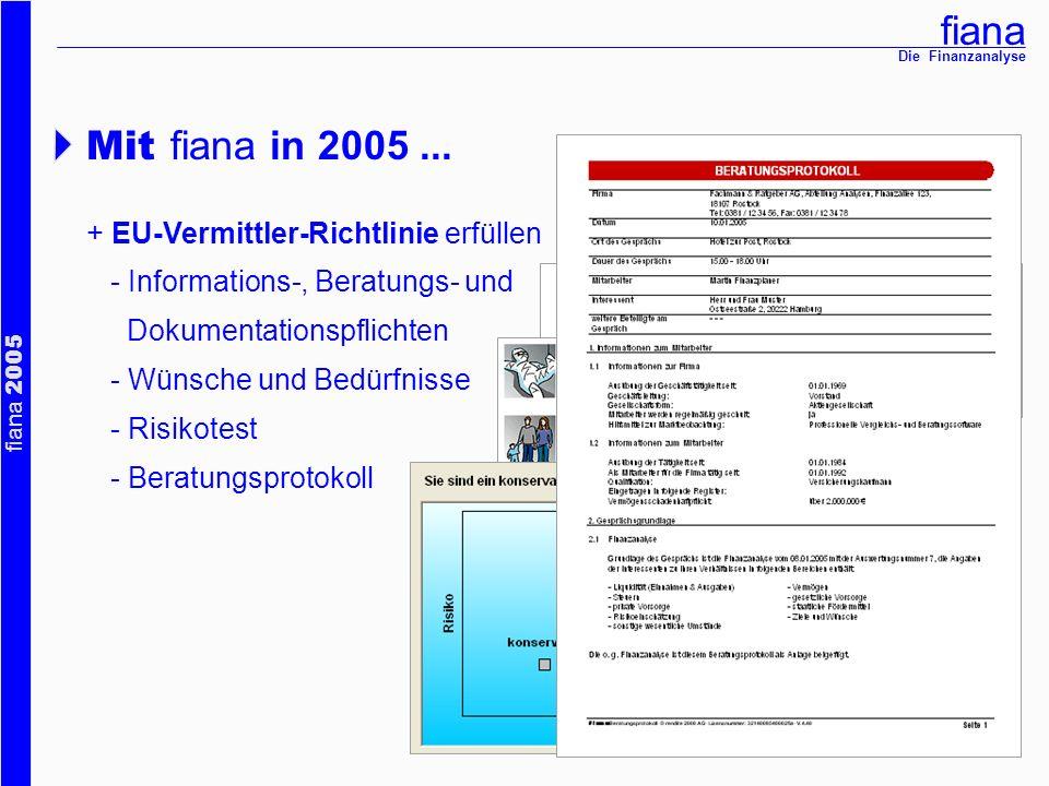Mit fiana in 2005 ... + EU-Vermittler-Richtlinie erfüllen
