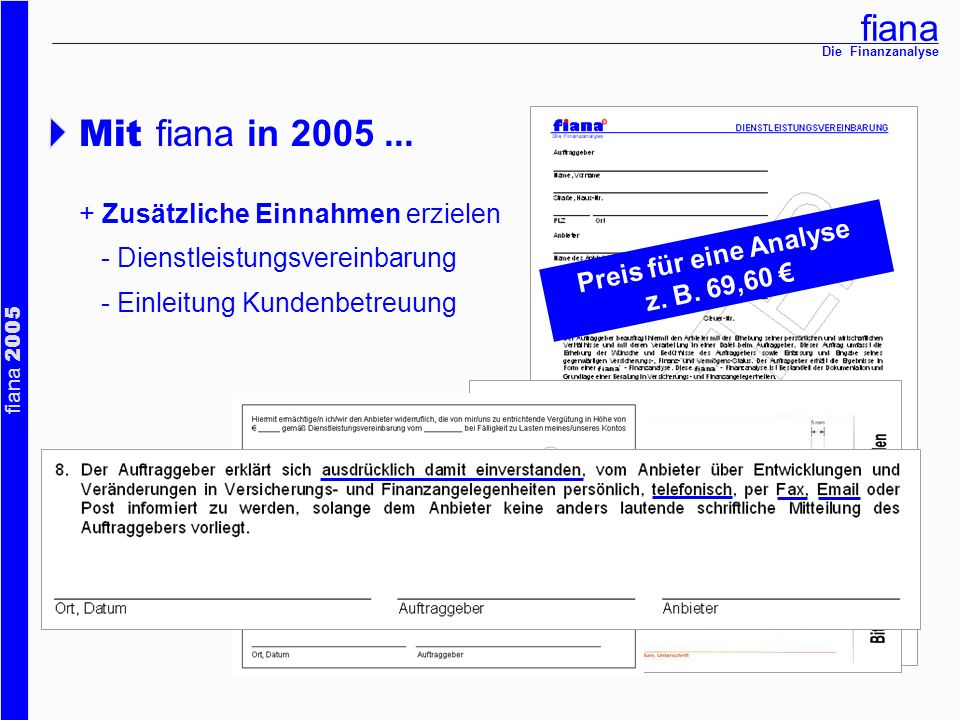 Mit fiana in 2005 ... + Zusätzliche Einnahmen erzielen