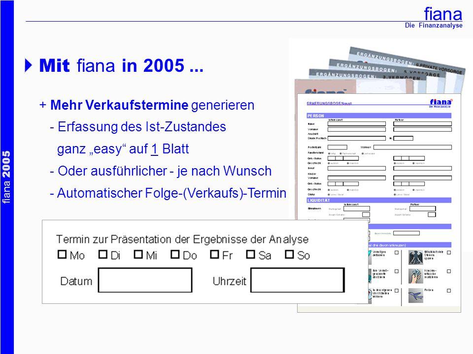 Mit fiana in 2005 ... + Mehr Verkaufstermine generieren