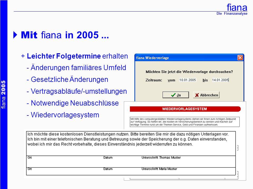 Mit fiana in 2005 ... + Leichter Folgetermine erhalten