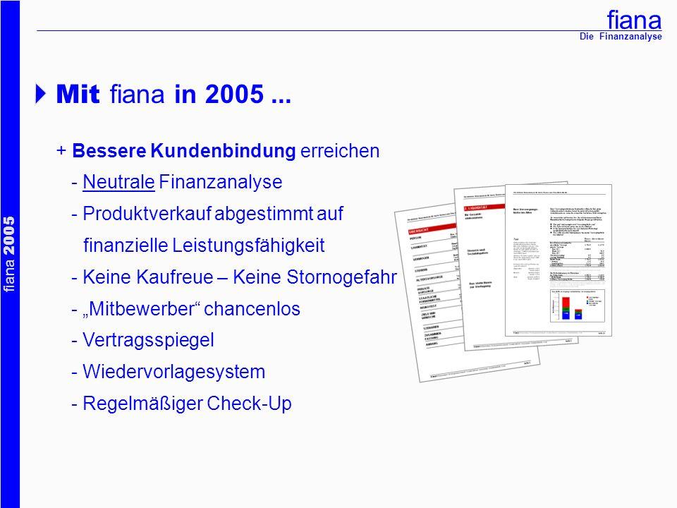 Mit fiana in 2005 ... + Bessere Kundenbindung erreichen
