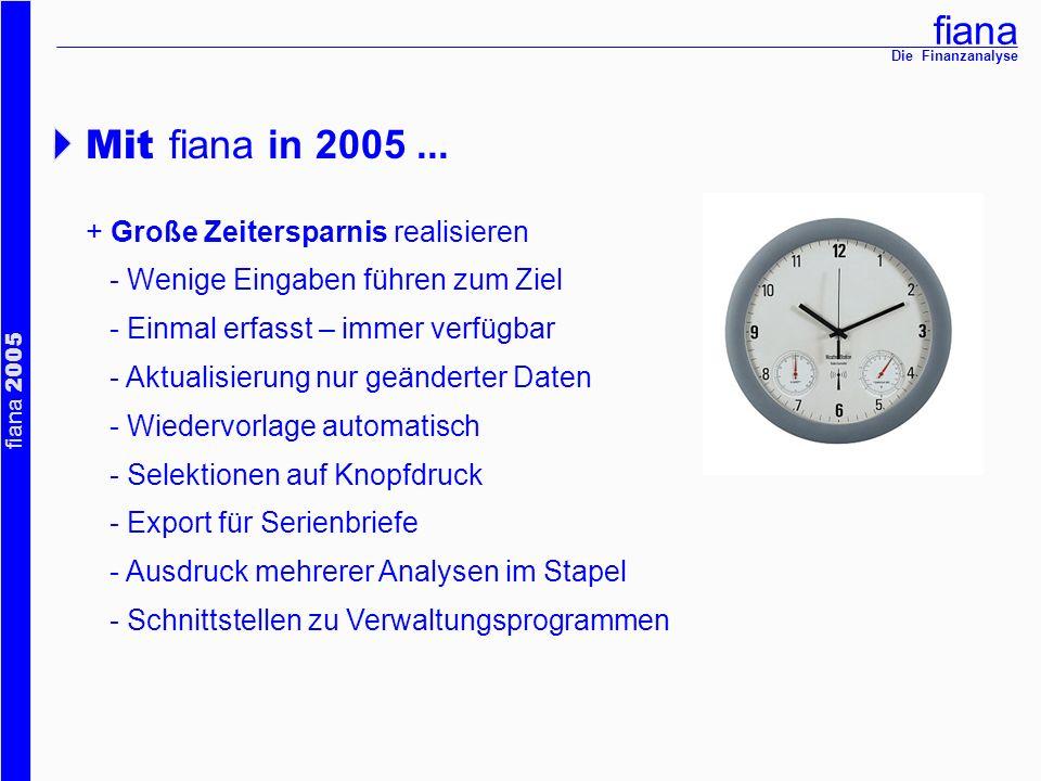 Mit fiana in 2005 ... + Große Zeitersparnis realisieren
