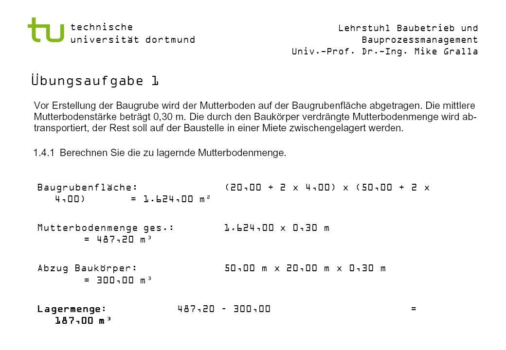 Übungsaufgabe 1Baugrubenfläche: (20,00 + 2 x 4,00) x (50,00 + 2 x 4,00) = 1.624,00 m². Mutterbodenmenge ges.: 1.624,00 x 0,30 m = 487,20 m³.