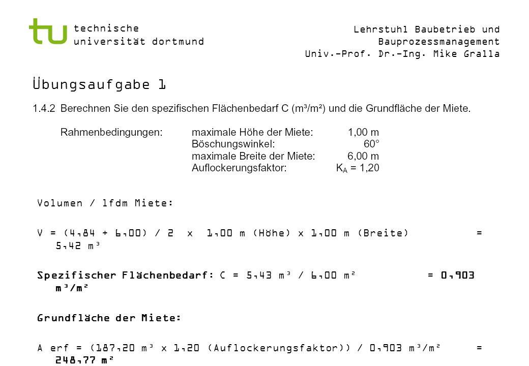 Übungsaufgabe 1 Volumen / lfdm Miete: