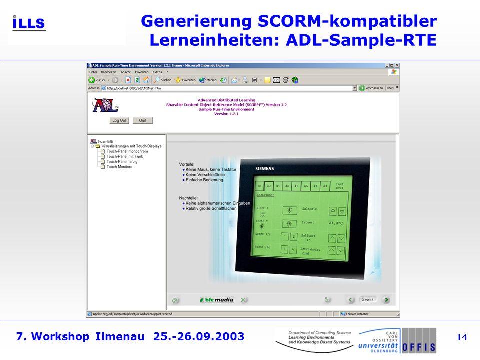 Generierung SCORM-kompatibler Lerneinheiten: ADL-Sample-RTE