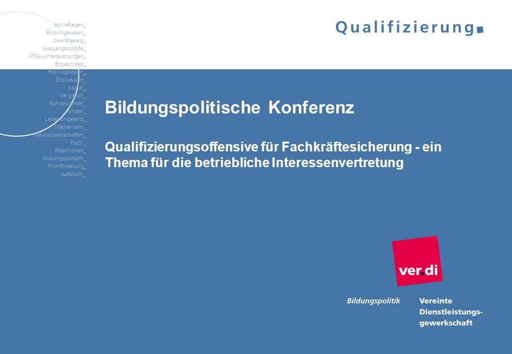 Bildungspolitische Konferenz Qualifizierungsoffensive für Fachkräftesicherung - ein Thema für die betriebliche Interessenvertretung
