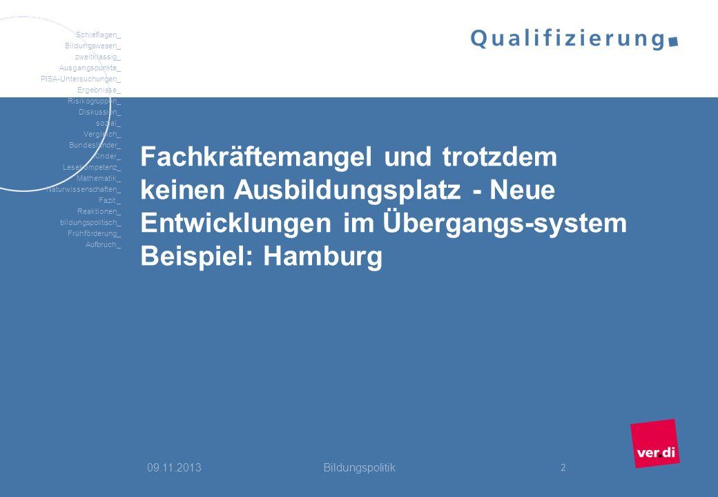 Fachkräftemangel und trotzdem keinen Ausbildungsplatz - Neue Entwicklungen im Übergangs-system Beispiel: Hamburg