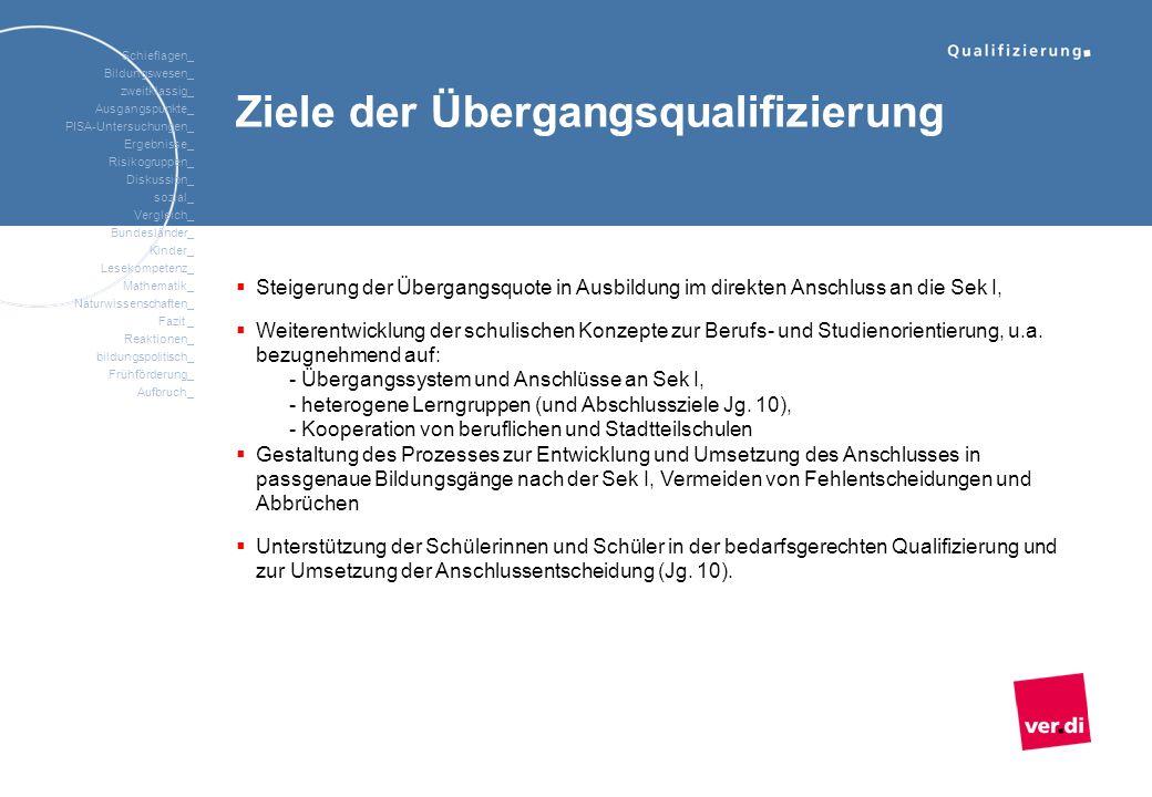 Ziele der Übergangsqualifizierung