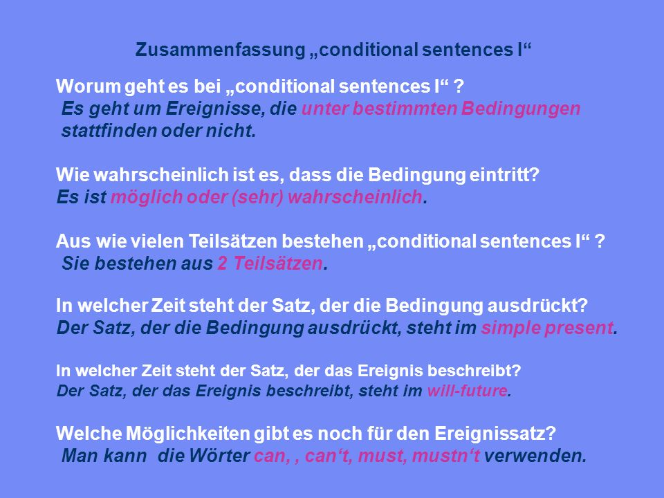 "Zusammenfassung ""conditional sentences I"