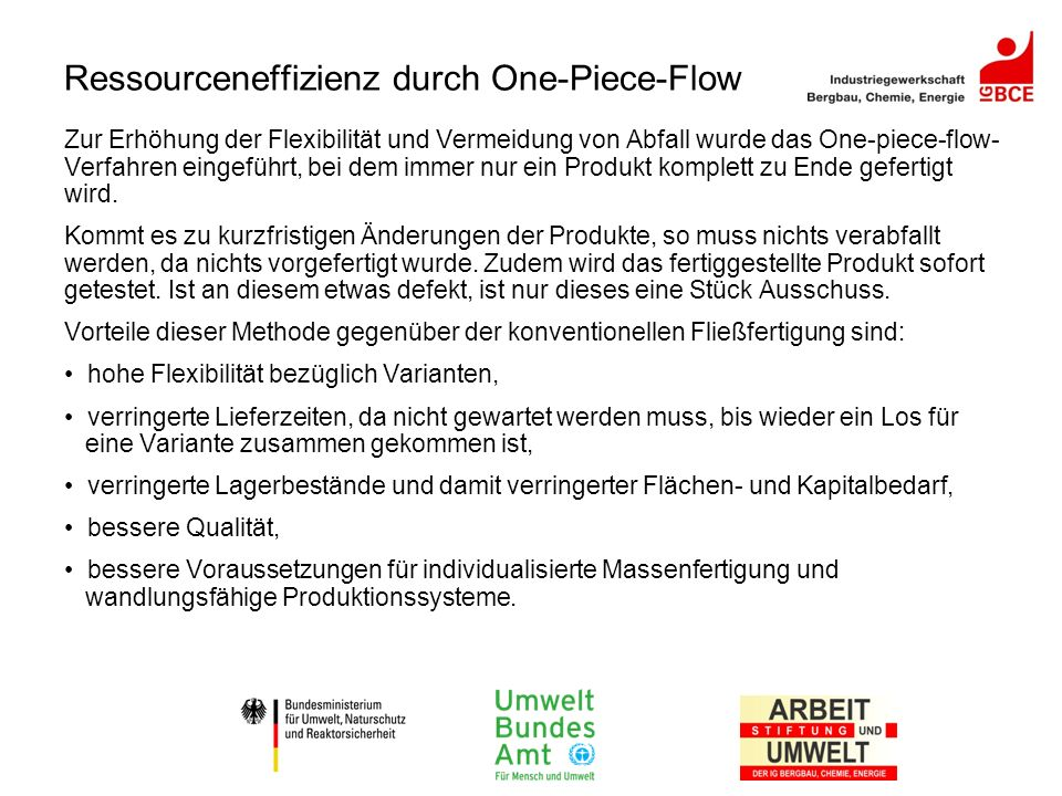 Ressourceneffizienz durch One-Piece-Flow