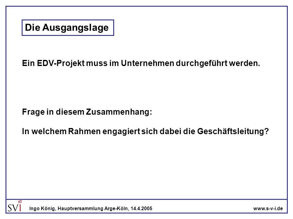 Die Ausgangslage Ein EDV-Projekt muss im Unternehmen durchgeführt werden. Frage in diesem Zusammenhang: