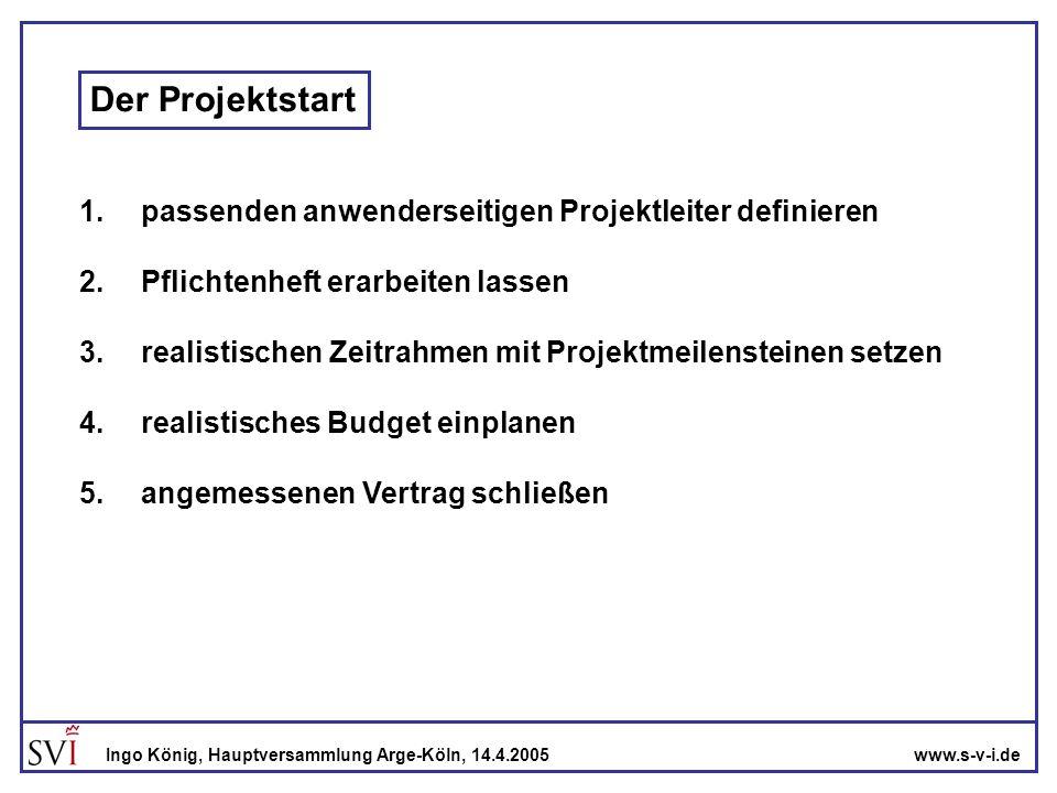 Der Projektstart 1. passenden anwenderseitigen Projektleiter definieren. 2. Pflichtenheft erarbeiten lassen.