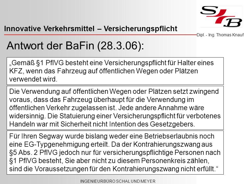 Antwort der BaFin (28.3.06):
