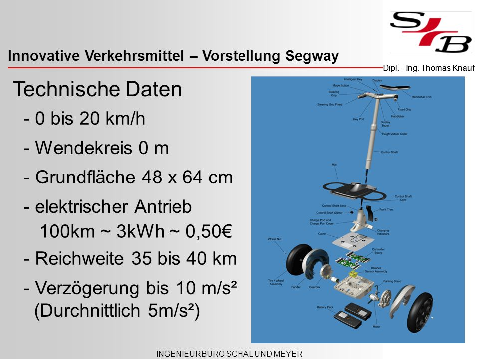 Technische Daten - 0 bis 20 km/h - Wendekreis 0 m