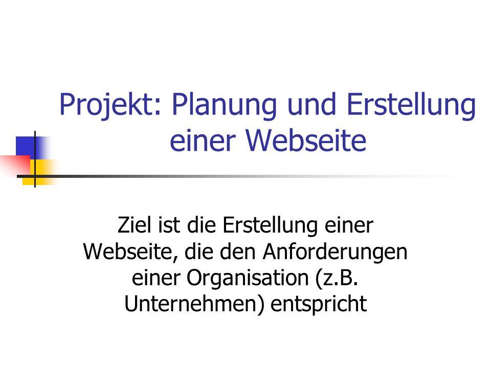 Projekt: Planung und Erstellung einer Webseite