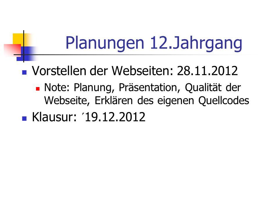 Planungen 12.Jahrgang Vorstellen der Webseiten: 28.11.2012